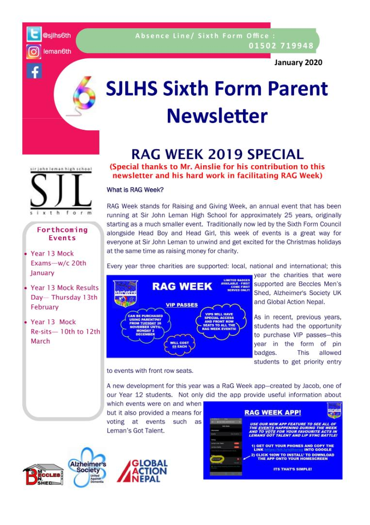 Parent's Sixth Fom Newsletter - RAG Week Special Jan 2020-1