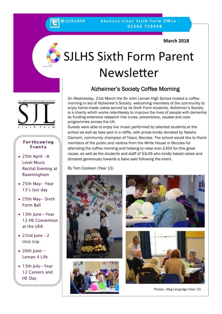 Sixth Form Newsletter March 2018-1(1)