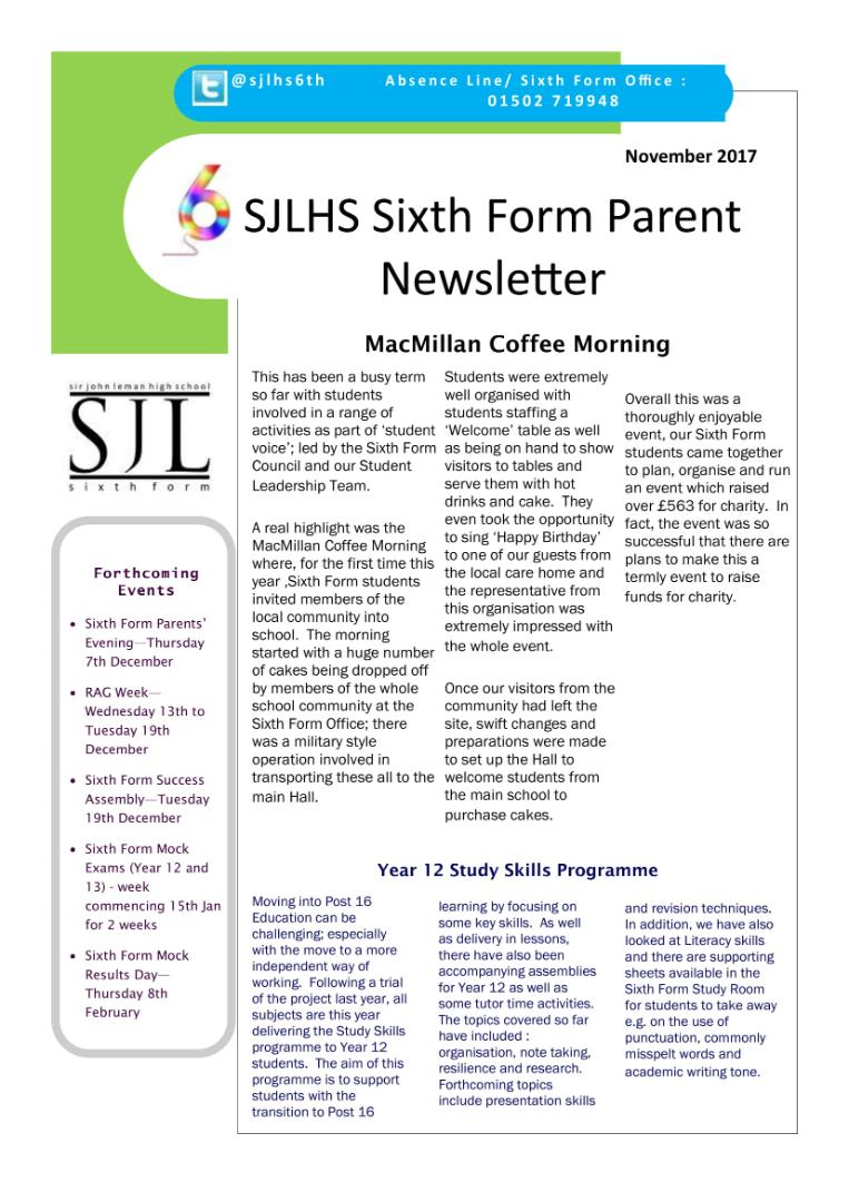 Sixth Form Newsletter November 2017-1
