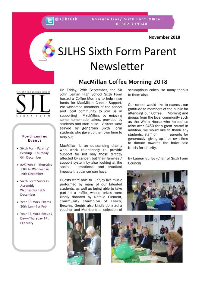 Sixth Form Newsletter October 2018-1(1)