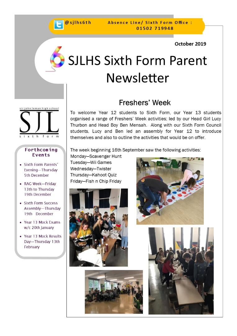 Sixth Form Parents' Newsletter Oct 2019 (2)
